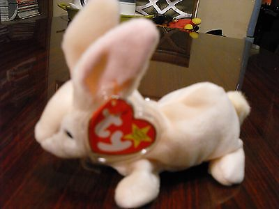 TY Beanie Babies Nibbler the Rabbit Stuffed Animal Plush Toy - 6 inches long
