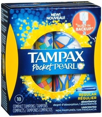 Tampax Pocket Pearl Compact Tampons Regular Absorbency, 18 Count