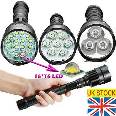 Tactical 90000LM T6 LED Super Bright Police Outdoor Flashlight Torch Lamp Light