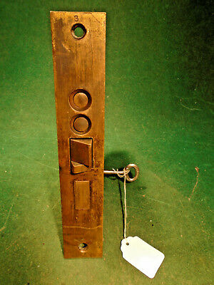 "1860 P.F. CORBIN #1330 1/2 PUSH BUTTON ENTRY MORTISE LOCK w/KEY 7 1/4"" (9527)"