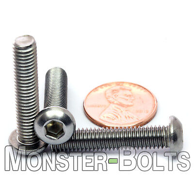 M6 - 1.0 x 30mm Stainless Steel Button Head Socket Hex Cap Screws, A2 ISO 7380