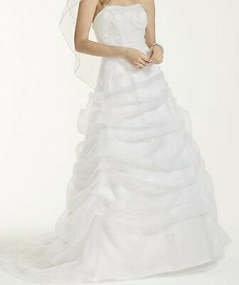 Size6 Ivory David's Bridal L9479 Organza Draped Preserved Wedding Dress AND Slip