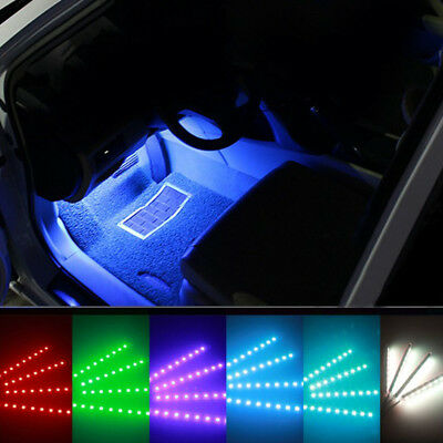 Remote Control 4pc 9LED Colorful RGB Car Interior Floor Atmosphere Light Strip