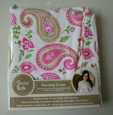 "New Trend Lap Nursing Cover Pink White Paisley Print 34"" By 24"" Nip"
