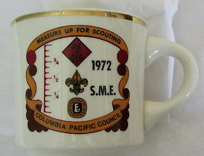 Boy Scout mug 1972 vtg Measure Up for Scouting SME Columbia Pacific Council BSA