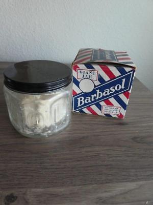 Vintage Giant Glass Jar of Barbasol Shave Cream - with Box