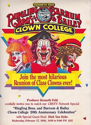 Ringling Brothers & Barnum & Bailey 1987 Clown College Reunion Poster