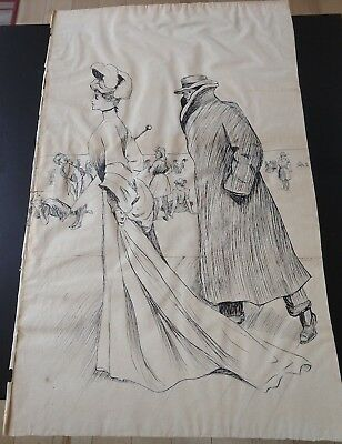 """ANTIQUE ORIGINAL PEN AND INK DRAWING BEACH SCENE GIBSON GIRL STYLE 15.25""""x24.25"""""""