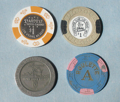Lot of 4 Various Casino Chips/Tokens