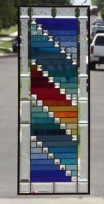 """•PARTY• Extra large Beveled Stained Glass Window Panel≈32 1/2"""" x12 3/8""""-83x32cm"""