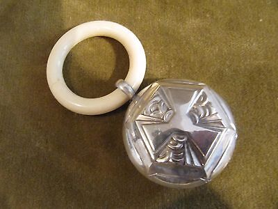 1925 art deco french 800 silver & bone of bovid baby rattle