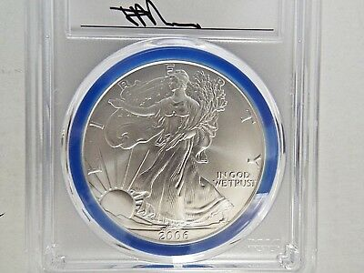 2006 W $1 Burnished Silver Eagle PCGS SP70 Mercanti Signed Mint Engraver Series