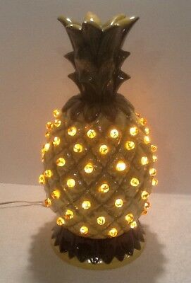 Vintage Beautiful Large Ceramic Mold Pineapple Lamp Amber Marbles Lighted Nice!