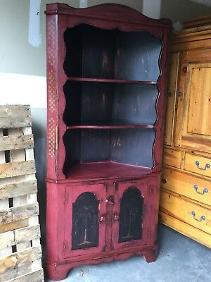 Antique CORNER CUPBOARD primitive French Country Shabby Cottage French CHIC