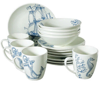 16 Piece Faience Dinnerware Set for 4 persons w/ Nautical Art. Dinner Service