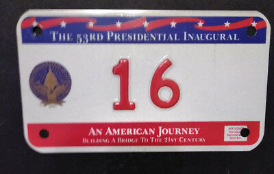 1997 District Of Columbia 16 Clinton Inaugural Motorcycle License Plate ! Rare !