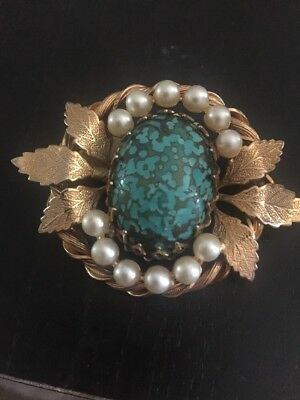 Vintage Turquoise And Faux Pearl Pin
