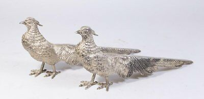 ANTIQUE STERLING SILVER 833 PHEASANT BIRDS PAIR 1218g