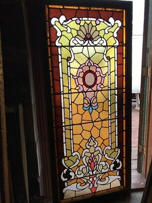 SG 2433 antique restored Stainglass landing window 29 3/4 by 69