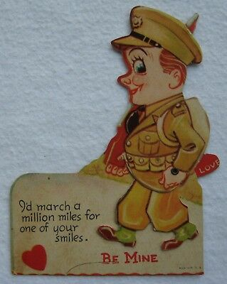 Vintage WWII Soldier Marching with Rifle Mechanical Valentine Made in U.S.A.