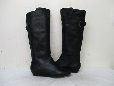 a501247fcb6c STEVEN IDEN Black Leather Wedge Heel Knee High Boots Womens Size 7.5 M