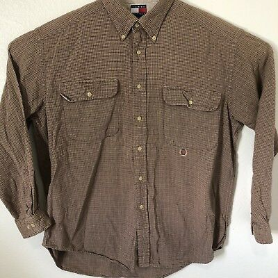 Vtge Tommy Hilfiger Mens Long Sleeve Button Up Cotton Shirt Large Brown