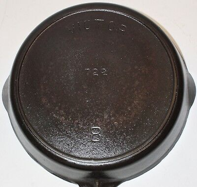 Antique Victor by Griswold Cast Iron Skillet, 722, 8, Heat Ring, circa 1900-1910