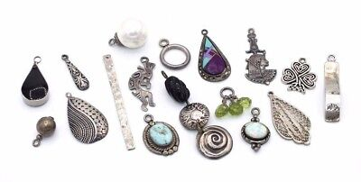 LOT of 17 Vtg STERLING SILVER Charm Pendants NAVAJO Egyptian Opal Turquoise MIX