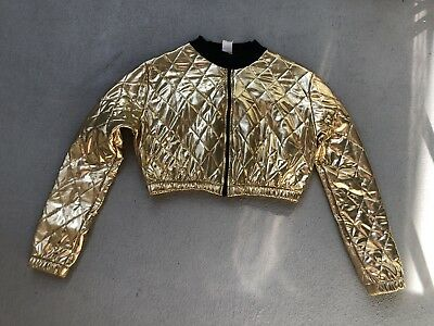 STARS DANCEWEAR Shiny Gold Quilted Cropped Zip-Up Jacket Jazz Tap Recital MEDIUM