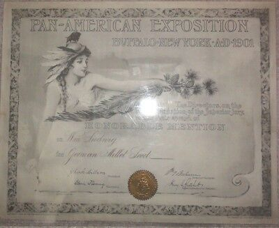 1901 Pan-American Exposition, Buffalo, N.Y. Award Certificate, Honorable Mention