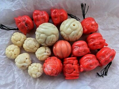 Collection antique 19thC Chinese carved white pink coral Buddha necklace beads