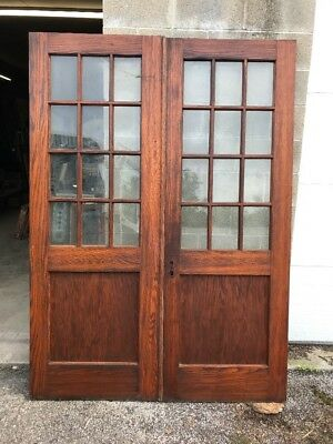 MAR 220 match Pair antique 12 light French doors oak 5 foot