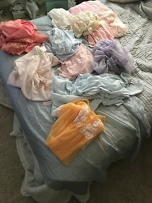 Vintage Lingerie Lot Great Condition Sz M /L Beautiful Colors Lace Ruffles