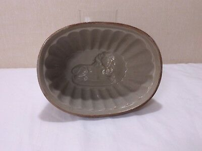 Antique IRONSTONE Jelly Mold Recumbent Resting LION MOLD Brown / Signed 8x6x3.5