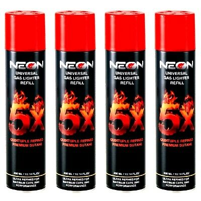 NEON BUTANE GAS 300ml 5X REFINED FILTERED LIGHTER REFILL FUEL (4 CANS)
