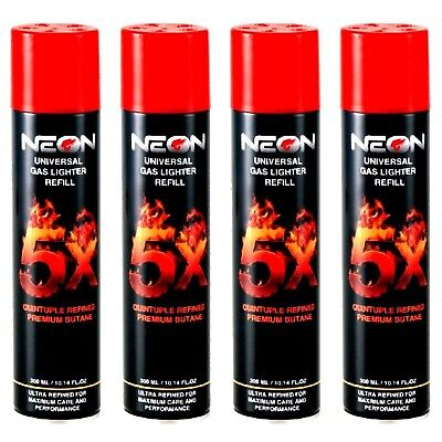 NEON BUTANE GAS 300ml 5X REFINED FILTERED LIGHTER REFILL FUEL (4 CANS)!