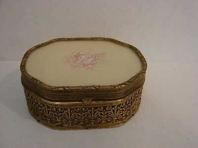 Antique Filigree Ormolu Trinket Box with Hand Painted Floral Design on Lid