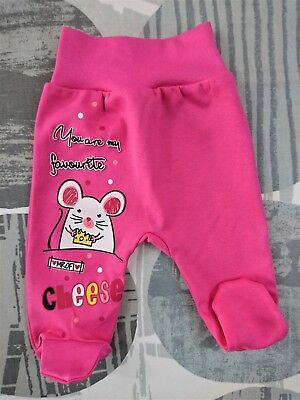 BNWT Baby Infant Girls PINK Trousers with feet  100% Cotton NEWBORN/12-18 Months