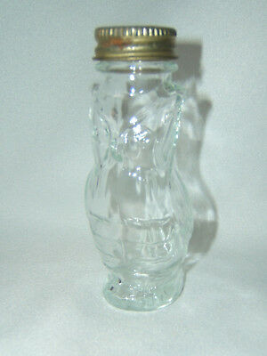 "Vintage Clear Glass Owl Shape Candy Container Jar Bottle w/ Lid ~ 4"" Owl Figure"