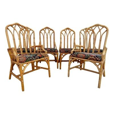 TLC 6 Vtg Rattan Cathedral Back Chairs Chippendale Fretwork Hollywood Regency