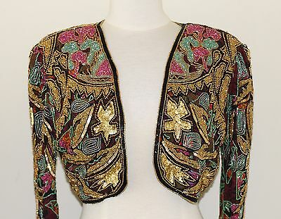 Jasdee Vintage Beaded Bolero Jacket Hand Work & Hand Print On Silk Style 5040