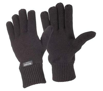 Thermal Knitted Acrylic Glove 3M Thinsulate Lined Black Knit Warm Winter Work