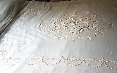 Antique Tambour Net Lace Bed Spread Coverlet & Dresser Scarf/Doily/Table Runner