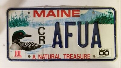 "2000 Maine ""Loon/A Natural Treasure"" Vanity Graphic License Plate (CR AFUA)"