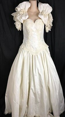 Gorgeous Soft Ivory Michele Vincent Wedding Dress Rosettes Puffy Sleeves XS S