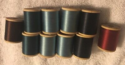 Vtg Lot 10 Belding Corticelli Silk Thread Wooden Spools 50 70 Yards Mixed Colors