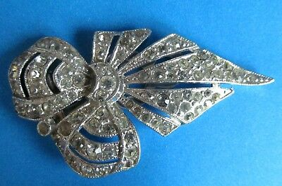 Art Deco Vintage Dress Bow Clip Decorated With Clear Rhinestones  Signed PAT 185