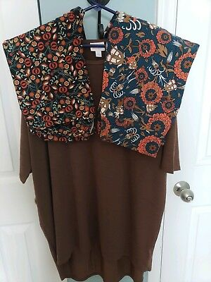 Lularoe Outfit LOT Large L Brown Irma TC Fall Floral Print  Leggings EUC!