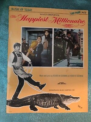 Vintage Sheet Music Song Book HAPPIEST MILLIONAIRE Disney 1967 Piano Vocal