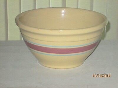 "McCoy USA #10 Oven Ware Mixing Dough Bowl Pink & Blue Stripes 10"" Vintage lot #1"